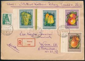 1955 Ajánlott levél 3Ft bérmentesítéssel Ausztriába / Registered cover to Vienna