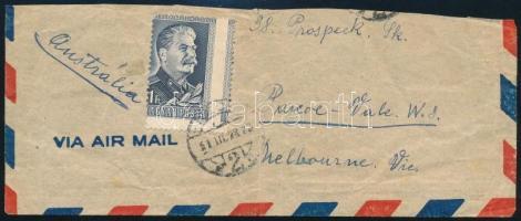 1949 Sztálin 1Ft elfogazva Ausztriába küldött levél kivágáson / Mi 1067 with shifted perforation on cutting to Austria