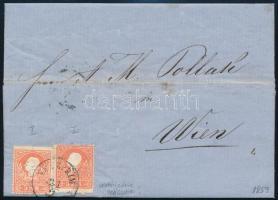 1859 2 x 5kr I. látványosan eltérő nyomatok távolsági levélen teljes tartalommal / 2 x 5kr I. on domestic cover VESZPRIM - Wien