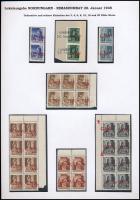 Rimaszombat 1945 32 db bélyeg kiállítási lapon, közte összefüggések (29.600) Signed: Bodor