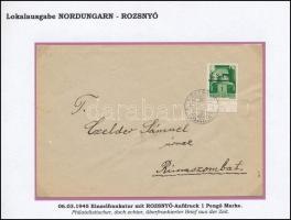 Rozsnyó 1945 Levél 1P bérmentesítéssel Rimaszombatra / Cover with 1P to Rimaszombat. Signed: Bodor