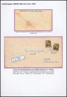 Abony 1945 Ajánlott levél 2 db 1P/80f bérmentesítéssel Abonyból Ceglédre, provizórikus ragjeggyel / Registered cover with 2 stamps. Signed: Bodor