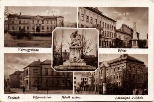 Szolnok, Bábaképző főiskola, Főgimnázium, Vármegyeháza, Fő tér, Hősök szobra