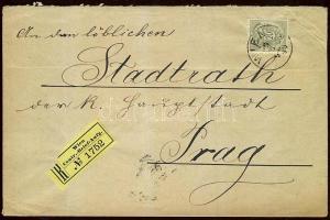 1890 20kr ajánlott levélen / Mi 48 on registered cover to Prague