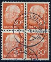 1956 Heuss Mi 264x négyestömb / block of 4 (Mi EUR 260.-)