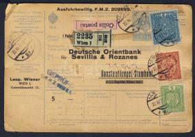 1917 Csomagszállító Törökországba / Parcel card to Turkey