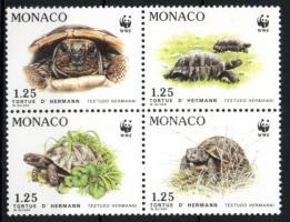 1991 WWF Görög teknős négyestömb + 4 FDC Mi 2046-2049