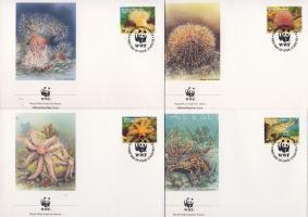 1993 WWF Tengeri élővilág négyescsík + 4 FDC Mi 61-64