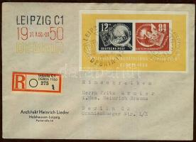 1950 DEBRIA blokk ajánlott levélen / Mi block 7 on registered cover