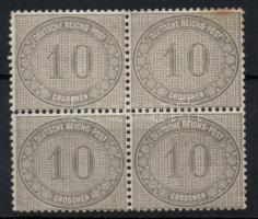 1872 Mi 12 elválóban lévő négyestömb (pici rozsda, 2 helyen papírelvékonyodás)