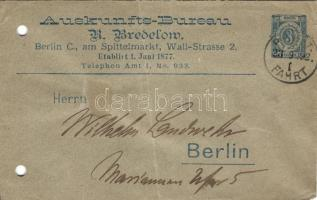 1892 Berlin városi magánposta futott díjjegyes boríték