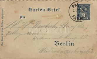1892 Berlin városi magánposta futott díjjegyes zárt levelezőlap