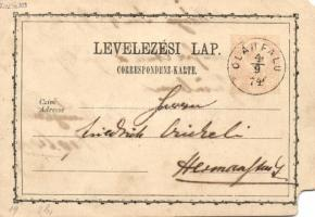 1874 Díjjegyes levelezőlap (sarokhiány) OLÁHFALU - NAGYSZEBEN