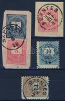 1874-1889 4 klf bélyeg, az egyik díjjegyes kivágáson SZENTES