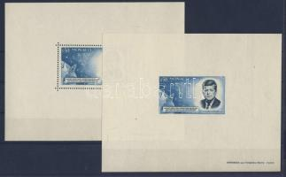 1964 Kennedy fogazott és vágott blokk / Kennedy block perforated + imperforate