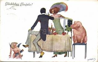 New Year, couple, Cupid, pig, champagne, B.K.W.I. 3030-4. s: Amadelis, Újév, pár, Kupidó, malac, pezsgő, B.K.W.I. 3030-4. s: Amadelis