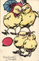 Easter, chicken family, B.K.W.I. 4091, Húsvét, csibe család, B.K.W.I. 4091