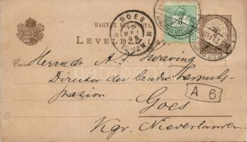1895 Díjkiegészített díjjegyes levelezőlap Hollandiába BUDAPEST AKADÉMIA UTCZA