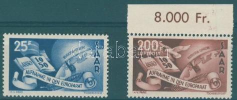 1950 Európa Tanács sor (közte ívszéli bélyeg) Mi 297-298