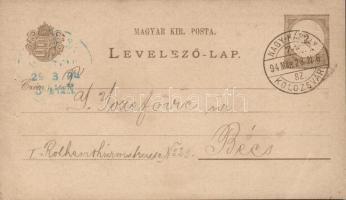 1894 Díjjegyes levelezőlap NAGYKÁROLY KOLOZSVÁR 74 SZ. vasúti bélyegzéssel Bécsbe