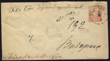 1874 Réznyomat 2 x 5kr 5kr díjjegyes borítékon ajánlott levélként / 2 x Mi 10 on PS cover registered, KECSKEMÉT - Budapest