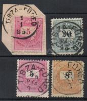 """4 different stamps """"TISZA-FÜRED"""", 4 klf bélyeg """"TISZA-FÜRED"""""""