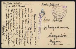 1917 Haditengerészeti posta képeslap / Navy mail postcard S.M. Schiff Árpád