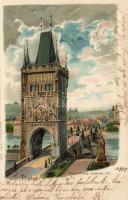 1899 Prag, Praha, Prague; Staromestská mostecká vez / old town bridge tower, Regel & Krug 3104. litho