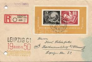 1950 DEBRIA blokk ajánlott levélen alkalmi bélyegzéssel (regiszterlyukasztás a borítékon, folt) / on registered cover with special cancellation