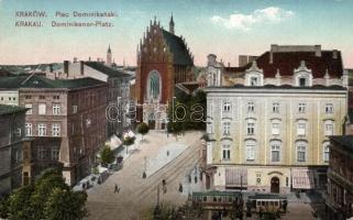 Krakkó, Plac Dominikanski / tér, villamos, L. Weindling üzlete, Kraków, Plac Dominikanski / square, tram, shop  L. Weindling