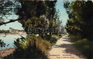Mali Lošinj, Strandweg, Cigale, promenade (little corner damage), Kis-Losinj / Lussinpiccolo; Strandweg, Cigale, sétány