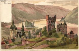 Bingen am Rhein, Klopp castle, litho s: C. Pfaff, Bingen am Rhein, Klopp kastély, litho s: C. Pfaff