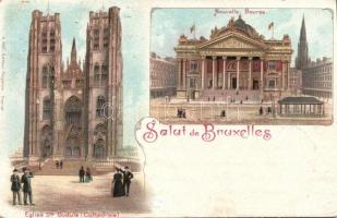 1898 Brussels, Bruxelles; Nouvelle Bourse, Eglise Ste Gudule / stock exchange, cathedral