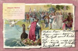 1899 'Lohengrin', scene from the German Arthurian epic, litho
