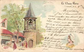 Paris, Pilori / pillory litho s: Robida