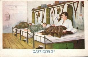 Gas monitoring, military humorous card s: Kluka J., Gázfigyelő, katonai humoros lap s: Kluka J.