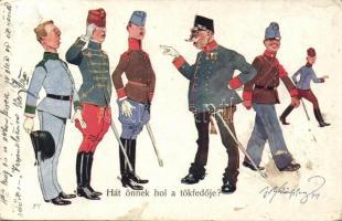 K.u.K. military humorous card, B.K.W.I. 336-1. s: Schönpflug, K.u.K. katonai humoros lap, B.K.W.I. 336-1. s: Schönpflug