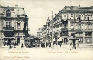 Sofia, Rue de commerce / Commercial street, tram