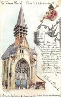 Paris, Eglise St Julien des Menetriers / church litho s: Robida
