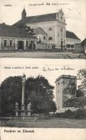 Zásmuky, Kláster, Brána u zámku a 'Bozi muka' / church, gate, castle and the calvary