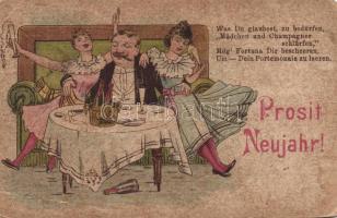 New Year, champagne, humour litho, Újév, pezsgő, mulatozás, humor litho