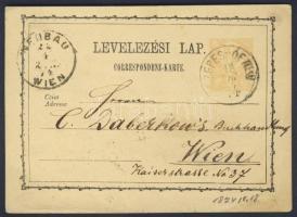 1874 Díjjegyes levelezőlap / PS-card SZEPES-ÓFALU - WIEN