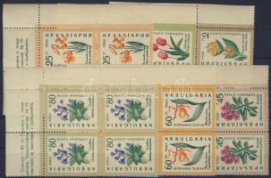 1960 Virágok Mi 1164-1169 ívsarki négyes tömbökben