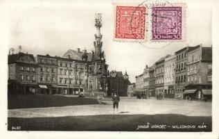 Jindrichuv Hradec, Wilsonovo Nám. / square, autobus, Hotel Kasper, shop of J. Svaton So. Stpl