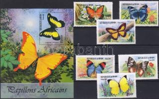Butterflies set + block, Lepkék sor + blokk, Schmetterlinge Satz + Block