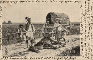 Gypsy folklore, Caravan, dead horse, Cigány folklór, karaván, elpusztult ló