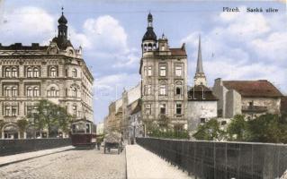 Plzen, Pilsen; Saska ulice / street, tram