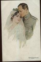Kriegsgetraut / Military wedding couple, S.V.D. No. 4247., Katonatiszt és felesége, esküvői pár, S.V.D. No. 4247.