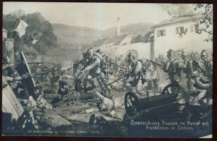 K.u.K. troops and Francs-tireurs in war in Serbia s: Richard Assmann, K.u.K. csapatok és Francs-tireurs csapatok harcban egymás ellen Szerbiában a s: Richard Assmann
