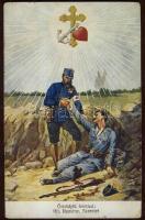 Faith, Hope, Charity; K.u.K. injured soldier, Hit, remény, szeretet; K.u.K sebesült katona
